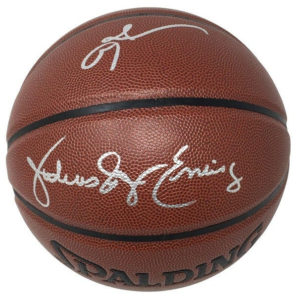 9469f0861 Allen Iverson Julius Dr J Erving Sixers Signed Brown Spalding I O Basketball  JSA