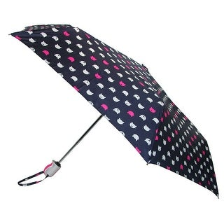 ShedRain Women's Auto Open and Close Cat Face Print Compact Umbrella - Navy - One Size