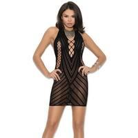 Black Crochet Halter Dress - One Size Fits Most