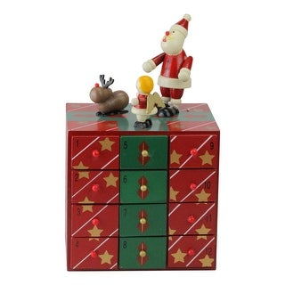 "10"" Red and Green Decorative Elegant Advent Storage Calendar Box"