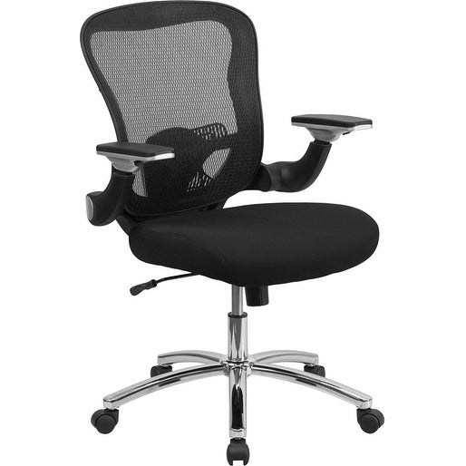 Alexandria Bay Mid-Back Black Mesh Stylish Executive Swivel Chair w/Height Adjustable Flip-Up Arms