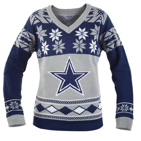 Dallas Cowboys NFL Women's Big Logo V-Neck Ugly Christmas Sweater