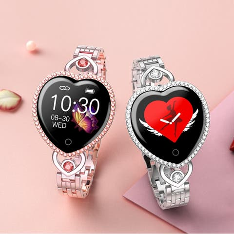 Women Bracelet Heart Shaped IP67 Blood Pressure Heart Rate Monitor Smartband