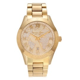 Michael Kors Women's 'Layton' MK5959 Goldtone Crystal Engraved Map Bracelet Watch