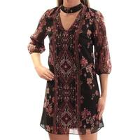 Womens Black 3/4 Sleeve Mini Shift Casual Dress  Size:  XS