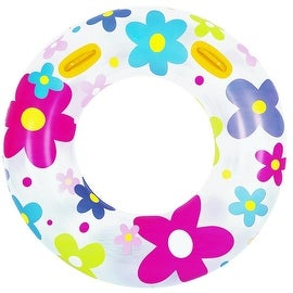 "42"" Fashion Flower Print Inflatable Swimming Pool Inner Tube Ring Float with Handles"