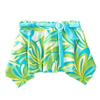 Azul Girls Green Blue Happy Spring Print Belted Trendy Swim Skirt