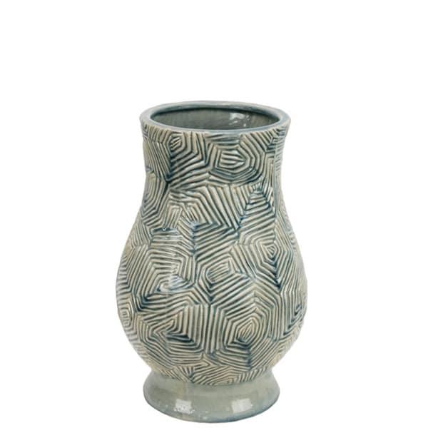 Beautiful Ceramic Zig Zag Patterned Curvy Vase, Blue and White