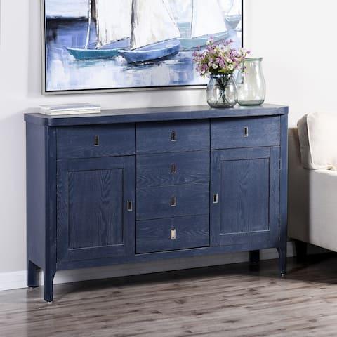 Klein 2-Door Indigo Blue Ash Wood 6-Drawer Credenza