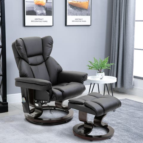 HOMCOM Massage Recliner Chair with Footrest, 10 Vibration Levels, Faux Leather