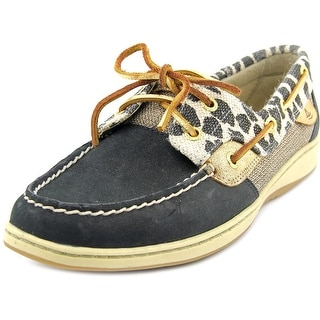 Sperry Top Sider Bluefish Women Moc Toe Leather Black Boat Shoe