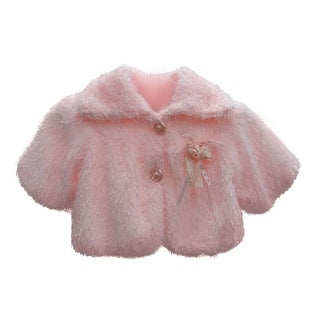 Baby Girls Pink Faux Floral Adornment Button Winter Coat 12M-24M