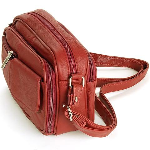 Womens Leather Adjustable Strap Multi Pocket Organizer Cross Body Purse - One Size