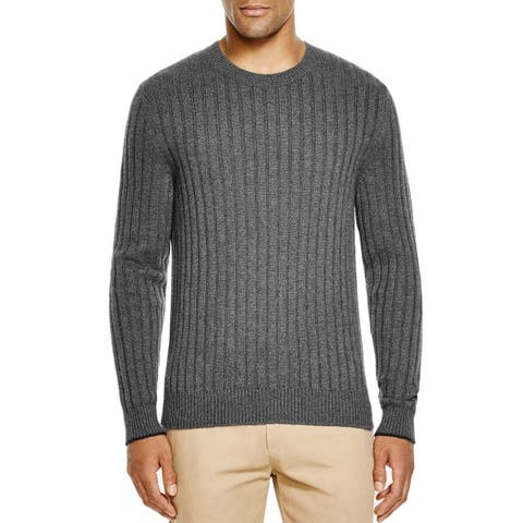 Bloomingdales Mens 2-Ply Cashmere Crewneck Ribbed Sweater Large L Ash Knitwear