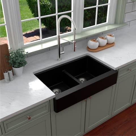 Karran Retrofit Apron Front Quartz Double Bowl Kitchen Sink