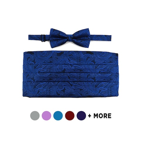 Men's Paisley Matching Adjustable Cummerbund and Bow tie Set - Regular