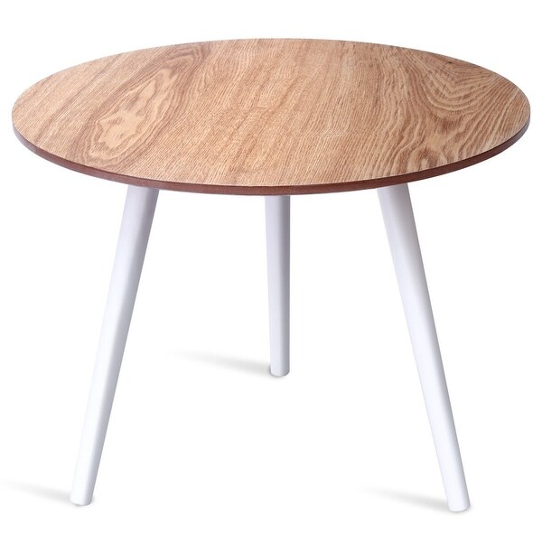 Costway Modern Round Coffee Table Side Tea End Pine Furniture Dining Living Room White
