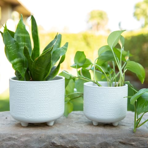 SET OF 2 Hiero Ceramic Footed Planters