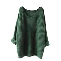 QZUnique Women Oversized Crewneck Pullover Long Sleevess Loose Sweater