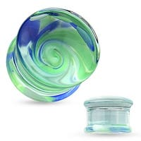 Blue and Green Swirl Pyrex Glass Double Flared Plug (Sold Individually)