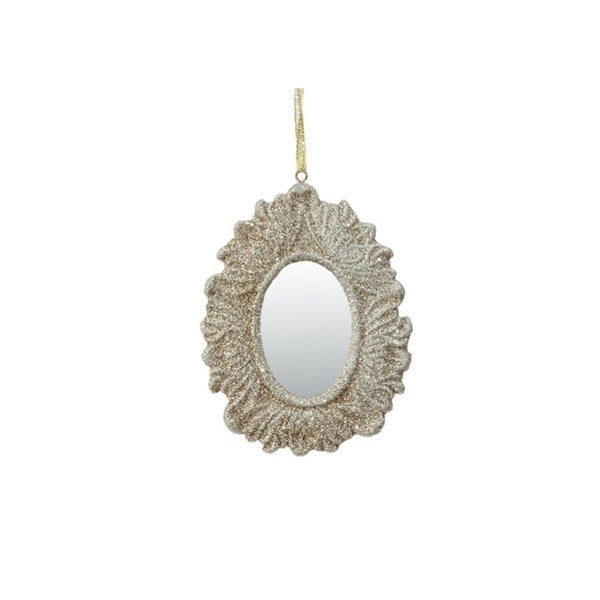 """4"""" Rich Elegance Champagne Gold Glittered Ornate Oval Mirror Christmas Ornament"""