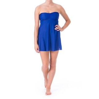 Eco Swim Womens Shirred Strapless Dress Swim Cover-Up
