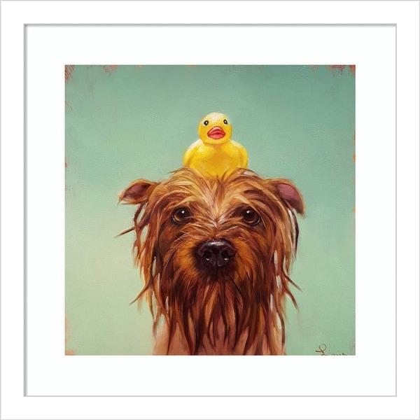 Bath Time (Dog and Duck) by Lucia Heffernan Framed Wall Art Print. Opens flyout.
