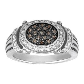 1/5 ct Brown & White Diamond Ring in Sterling Silver - Size 7