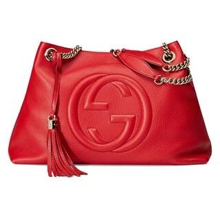 Gucci Soho Leather Chain Shoulder Handbag Red
