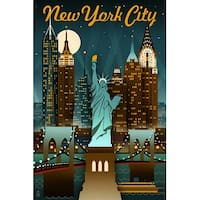 NY - Retro Skyline - LP Artwork (Cotton/Polyester Chef's Apron)