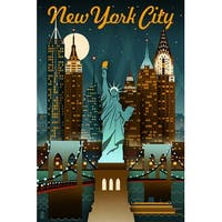 NY - Retro Skyline - LP Artwork (100% Cotton Towel Absorbent)