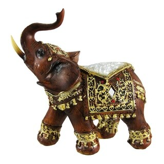 Gorgeous Wood Finish Indian Elephant Statue Crackle Glass - 6 X 6 X 3 inches