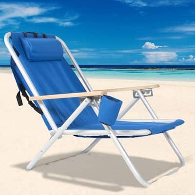 """140"""" Portable High Strength Beach Chair with Adjustable Headrest"""