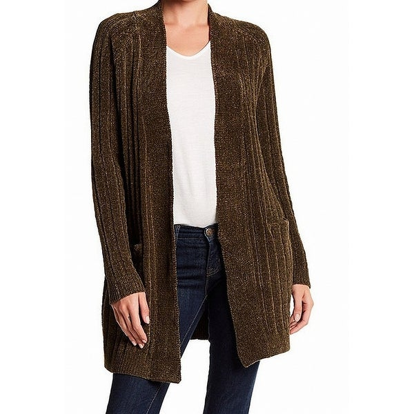 Shop Bnci New Olive Green Womens Size Medium M Chenille Cardigan
