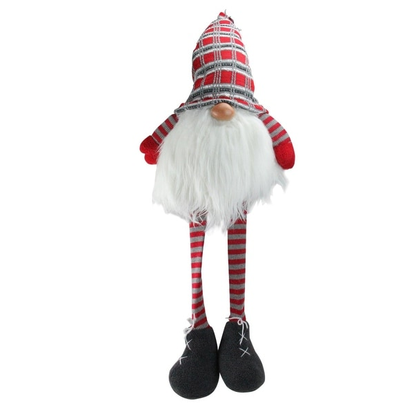 """36"""" Red and Gray Traditional Christmas Santa Gnome with Dangling Legs - WHITE"""