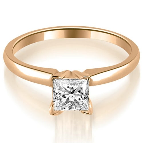 0.50 cttw. 14K Rose Gold Classic Princess Cut Solitaire Diamond Ring