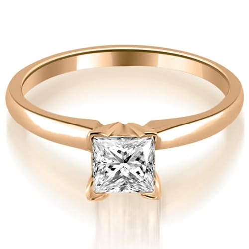 1.00 cttw. 14K Rose Gold Classic Princess Cut Solitaire Diamond Ring