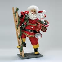"10.5"" Fabriche Firefighter Santa Claus with Ladder and Dog Table Top Christmas Decoration - RED"