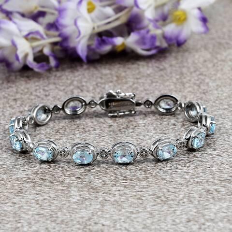 Topaz,Opal,Garnet,Larimar Sterling Silver Oval, Round Link Bracelet By Orchid Jewelry