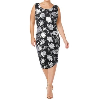 Kasper Womens Plus Cocktail Dress Floral Sleeveless