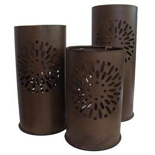 "Set of 3 Distressed Floral Metal Tea Light Candle Lantern Holders 8"" - 12"""