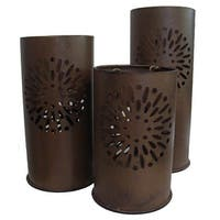 "Set of 3 Distressed Floral Metal Tea Light Candle Lantern Holders 8"" - 12"" - Brown"