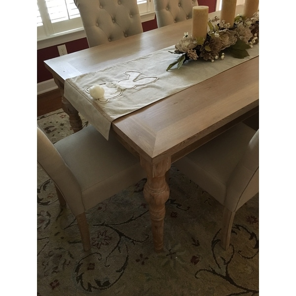 Habitanian Solid Wood Dining Table With 6 On Tufted Chairs Free Shipping Today 14602680