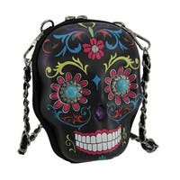 Western Sugar Skull Decorated Molded Skull Purse w/Removable Strap