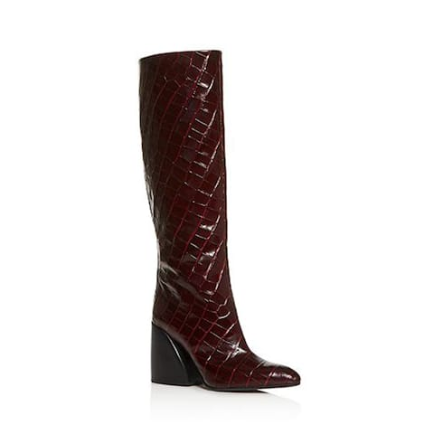 Chloé Women's Leather Wave Croc Embossed Tall Boots Dark Purple