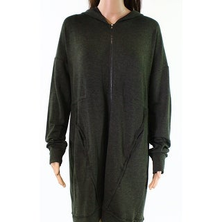 H By Bordeaux Green Womens Size Small S Hooded Full Zip Sweater