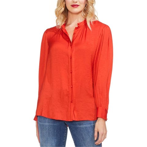 Vince Camuto Womens Pintuck Button Down Blouse