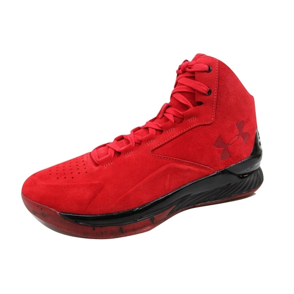 Under Armour Men's Curry 1 Lux Mid Suede Red/Black 1296617-600