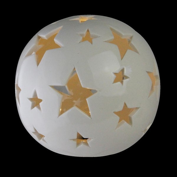 "4.75"" Battery Operated Starry Night White Ceramic Ball Light with White LED Light"