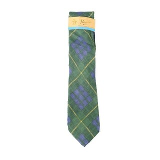 Original Penguin NEW Green Marquis Plaid Nylon Wool Blend Mens Necktie